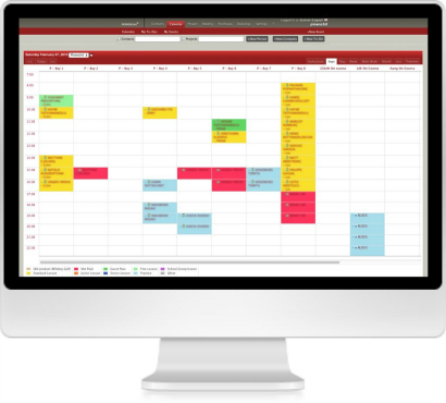 Calendar Feature of golf-center booking system built by Safecoms